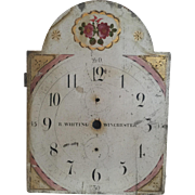 Early 19th C. Antique Wood Clock Dial Face by American Connecticut Clock Maker Whiting-Winchester
