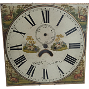 Early 19th C. English Metal Clock Face Dial with Animals