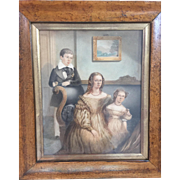 Early 19th C. English Signed Watercolor of Mother and Two Children in Original Frame