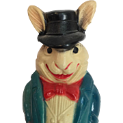 Vintage Celluloid Roly-Poly Patriotic Rabbit Dressed like Uncle Sam!