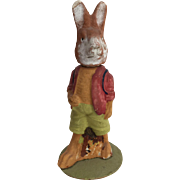 Vintage German Plaster Dressed Bunny Rabbit Candy Container
