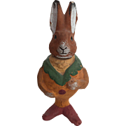 Vintage German Plaster Rabbit Candy Container Unusual Colors!
