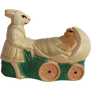 Vintage Celluloid Bunny Rabbit Mommy Pushing Baby chick in Egg Shaped Pram