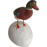 Vintage German Plaster Mallard Duck on Egg Candy Container... Gorgeous!