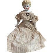 "Antique c. 1870's  19"" Blonde China Head Doll in Original Dress...Beautiful Face...AS-IS!"