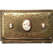 Stunning  ArT Nouveau Jeweled & Shell Cameo Ormolu Casket Box