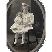 Victorian Cabinet Card Photograph of Little Girl With German Bisque Doll