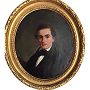 19th C. Antique Oval Oil Painting Portrait of a Handsome Gentleman... Signed, Nice Smaller Size