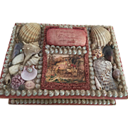 c. 1880's Victorian Shell Art Sailor's Valentine Large Sewing Box...Great Litho on Top!