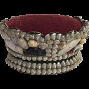 c.1880's Victorian Shell Art Sailor's Valentine Crown Form Pincushion Nice!