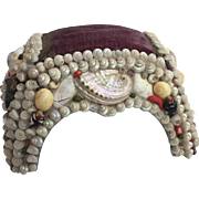 c.1880's Victorian Shell Art Sailor's Valentine Footstool Form Pincushion....Gorgeous!