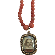 Antique  1800's Georgian Coral Necklace with Early Portrait Painting under Glass Locket of Man Resembling Shakespeare