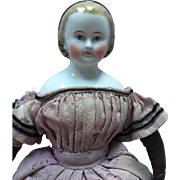 Antique Cabinet Sized China Head Alice in Wonderland Style Doll with Snood... All Original Excellent Condition