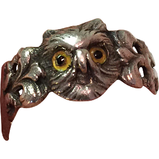 Rare and Unusual c.1880's Victorian Sterling Silver Owl Ring...Glass Eyes!
