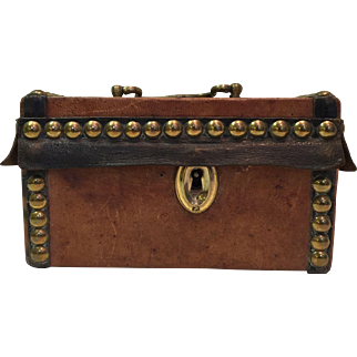 Rare Early 19th C. Leather Covered and Brass Studded Small Lock Box Chest with Original Key