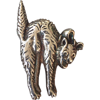c.1900's Edwardian Era Sterling Silver Arched Halloween Cat Pin or Brooch
