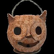 Vintage German Halloween Owl Head Cardboard Candy Container or Lantern