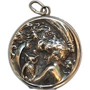 Vintage Art Nouveau Sterling Silver Halloween Themes Locket with Lady Witch, Broom, owl and Moon....WOW!
