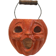Vintage 1940's-50's Cardboard Pulp Pumpkin Halloween Jack-o-Lantern Candy Container with Wood and Wire Handle
