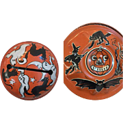 PAIR of Vintage 1940's-50's Metal and Wood Handled Tin Halloween Noisemakers