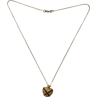 Stunning Estate 18k Gold Yellow and Blue Sapphire Heart Necklace on 14K Gold Chain...Breathtaking!
