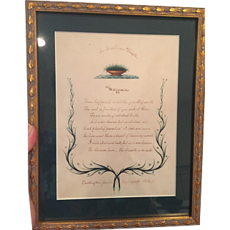 """c.1856 Hand Written Poem in Pen with Painted Accents Entitles """"Happiness"""" Dated and Signed...Poignant and Beautiful"""