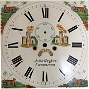 Amazing 19th C. English Antique Metal Clock Dial Face Featuring Tigers and Castles...Outstanding Condition