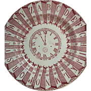 c. 1880's Victorian Alphabet Clock Face Calendar Child's Plate...Red Transferware