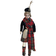 "15"" Simon Halbig German 950 Shoulder Head Fashion Doll in all Original Scottish Costume and Kid Body"