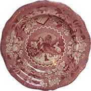 Antique Staffordshire Red Transferware Plate ~ Millennium ~ Lion Lamb 1825