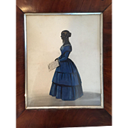 Stunning Antique Painted Silhouette Profile of Lady in Blue Holding Sheet Music on Original Frame