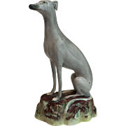 1880's Nicely Detailed Large Gray Earlier Staffordshire Gray Greyhound Dog Figurine...Nice Quality
