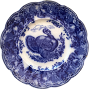 c.1870's English Victorian Flow Blue Thanksgiving Turkey Plate