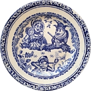 c.1890 Victorian Blue and White Punch and Judy Child's Plate...So sweet!