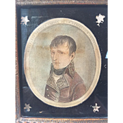 1900's Eglomise Portrait Print Depicting Napoleon Bonaparte in Original Frame by Borghese Company