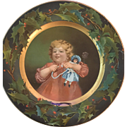c.1900 Victorian Tin Christmas Plate Featuring Doll and Child by the Kenny Co.