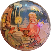 Vintage Western Germany Christmas Cardboard Litho Candy Container/Ornament Ball...Lovely Colors...Angels and Glitter!