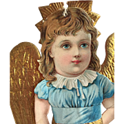 c.1890's Victorian Christmas Angel Paper and Dresden Gold Styled Ornament...Beautiful!