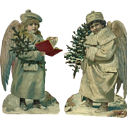 Pair of Victorian Cardboard Die Cut Christmas Angels in MINT Condition