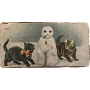 Victorian Era Vintage Christmas Chocolate Box with Snowman and Cats