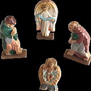 c.1900's Vintage Wooden Christmas Putz Pieces...Angel, Jesus and Shepherds