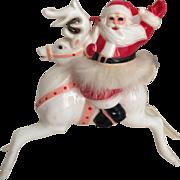 Delightful Vintage 1950's Plastic Christmas Santa on Reindeer...Ho Ho Ho!