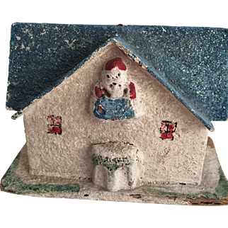 Vintage 1930's-40's Mica Japan Christmas House with Built In Santa...Unusual!
