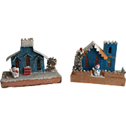 Collection of Two Vintage Cardboard Christmas Mica Snow Houses with Snowmen...Japan