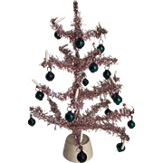 Vintage Pink Garland Small Feather Tree...Original Ornaments!