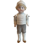 Vintage Antique All Bisque Snow Boy Doll....Adorable!