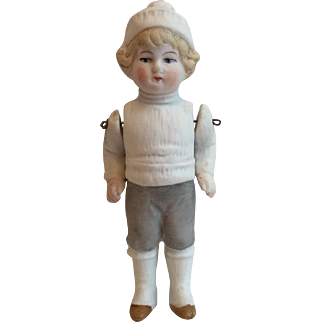 Vintage Antique All Bisque Snow Boy Doll....Adorable!