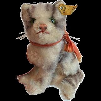 Vintage Steiff Mohair Seated Tabby Cat