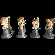 Set of 4 Vintage German Band Figure 1930's Plastic Christmas Angel Ornaments