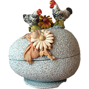 1920's Vintage Candy Container Cardboard Easter Egg with Glass Beads with Chalkware Rooster and Hen and Floral Decor...All Original!